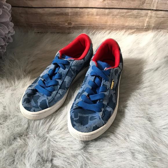 Poshmark Classic Kicks Shoes 3 Puma Blue Suede Jr Camo Red Acw1S